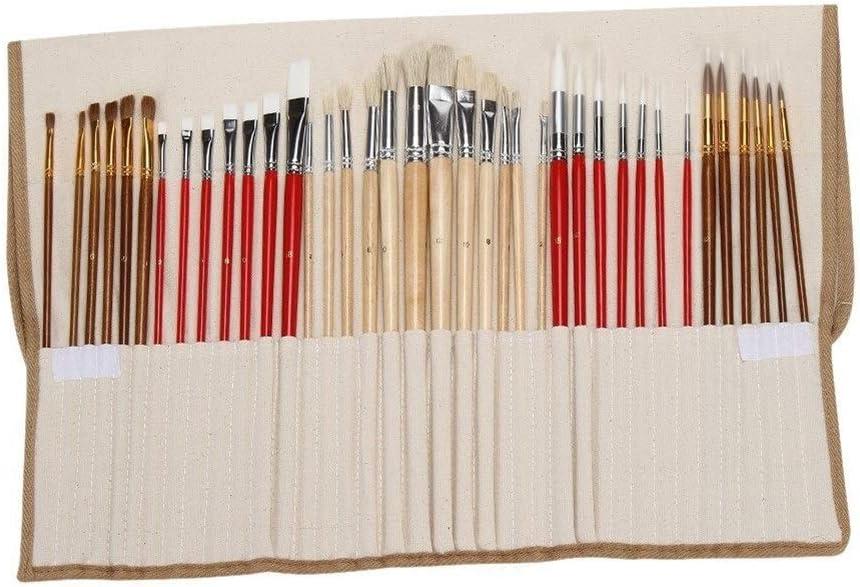 Edmend 38pcs de la Pintura del Cepillo del Sistema Pinceles Starter Kit Incluye Taklon/cerda/Caballo Cepillos Pintando encierra el Uso de Pintura de Varios Colo (Color : Multicolor)