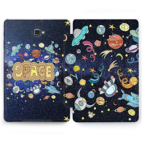 Wonder Wild Bright Space Samsung Galaxy Tab S4 S2 S3 A Smart Stand Case 2015 2016 2017 2018 Tablet Cover 8 9.6 9.7 10 10.1 10.5 Inch Clear Design Spaceship Cartoon Drawn Aliens Flying Saucer Sputnik ()