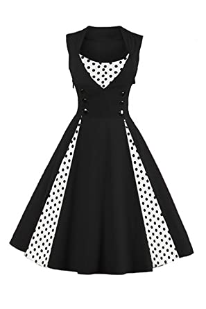 Women Tea Dress Black Sleeveless Retro Vintage Cocktail Dress-S