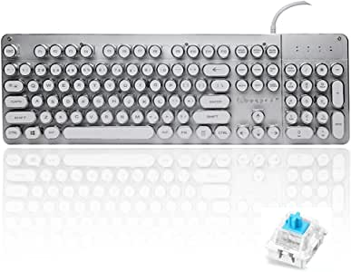 Guanwen Retro Punk Real Mechanical 104 Key Keyboard Blue Switch Multimedia Game Waterproof Plating Keycaps USB 26 Keys Without Conflict RGB Backlit Metal Panel Color : Silver