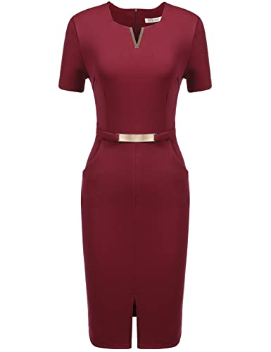 Meaneor Women V Neck Short Sleeve Business Pencil Dress With Pocket