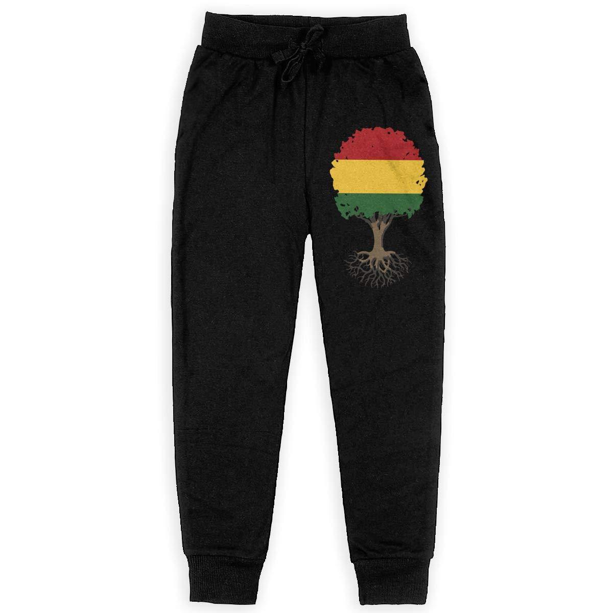 WYZVK22 Tree of Life with Rasta Flag Soft//Cozy Sweatpants Boys Fleece Pants for Teen Boy