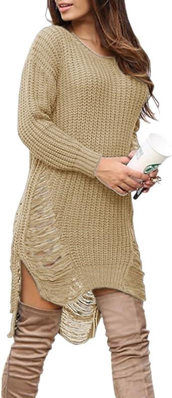 HAHAEMMA Jersey de mujer elegante de invierno manga larga jersey de punto suelto informal cuello alto