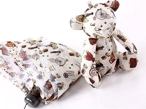 Amazon.com: Katoot@ Mini Cute Bear 5 Fold Manual Black Coating Rain Sun Umbrella For Kids And Women Pocket Plegable Paraguas De Mujer And Infantiles (Bear): ...