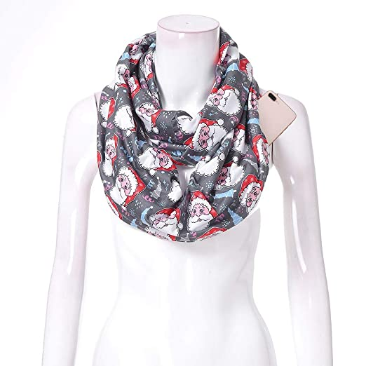 5ad4947eee7f94 Women Christmas Santa Print Convertible Infinity Scarf Pocket Zipper Pocket  Autumn Winter Shawl Holiday Scarves Gift (Multicolor -B, Free Size:  180X50cm) at ...
