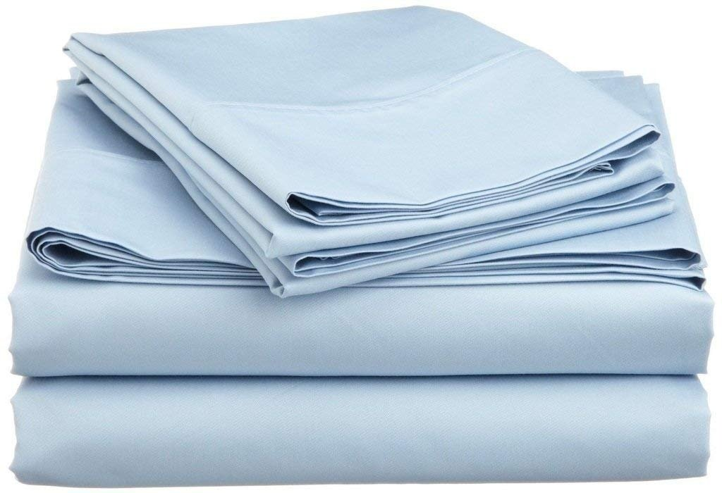 Jenylinen Best Selling Queen Size Sleeper Sofa Bed Sheet Set (62'' x 74'' x 6'') 100% Egyptian Cotton { Light Blue Solid } 500 Thread Count!!