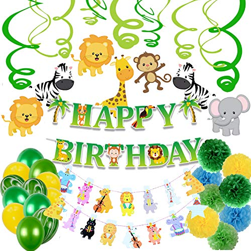 Jungle Theme Party Supplies Happy Birthday Party Decorations (Jungle/Safari Animals -