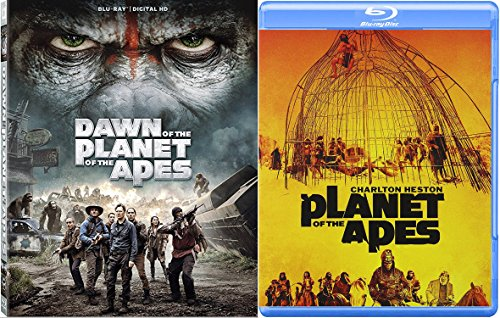 Dawn of Planet of the Apes & Planet Of The Apes '68 Charlton Heston Sci-Fi Blu Ray Space Thriller Action Space Movie Set