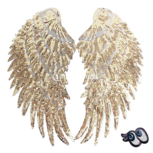 LoveInUSA 2 PCS Gold Sequins Angel Wings DIY Embroidered Iron-on Patch Applique for Cloth Decoration Valentine's Day Gifts (Sequin Eye for Free) Embroidered Sequin Applique