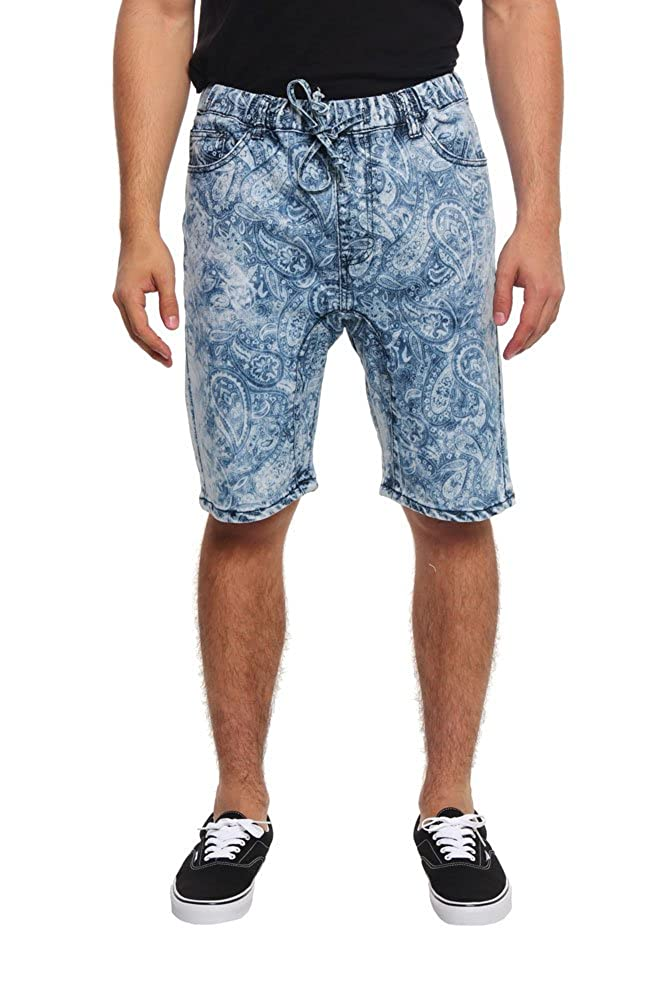 Victorious Men's Paisley Print Denim Dropcrotch Shorts JS337 - INDIGO