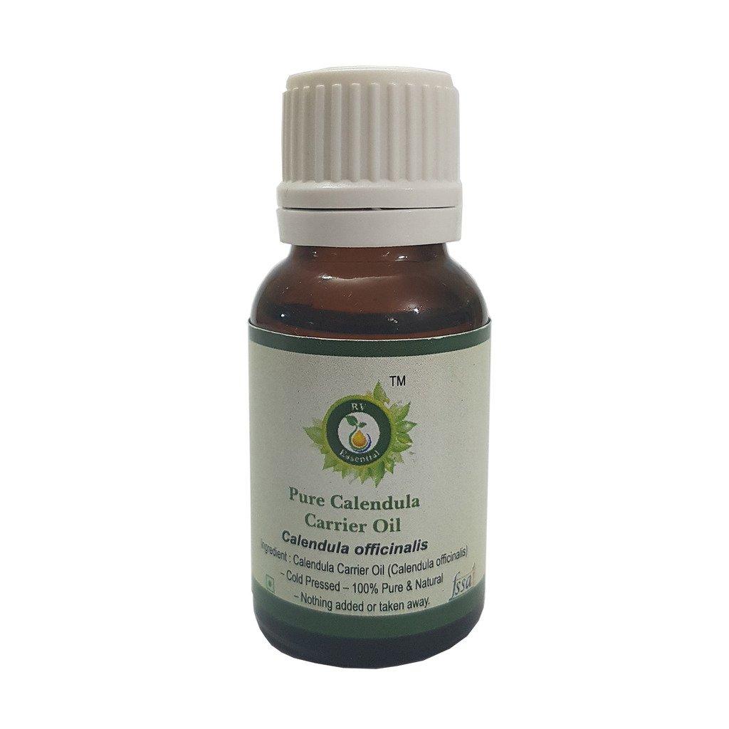 R V Essential Pure Calendula Carrier Oil 50ml (1.69oz)- Calendula Officinalis (100% Pure and Natural Cold Pressed)