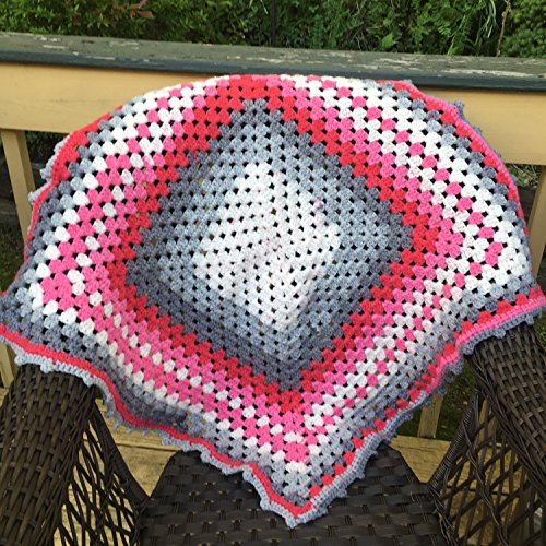 Kay's Crochet Pink Grey Baby Girl Nursery Blanket Afghan Made in the USA