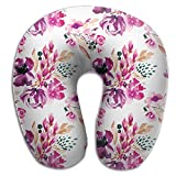 U Shaped Travel Pillow Antique Bouquet Memory Foam Soft Neck Portable Pillow For Flight Train Car And Office Naps Bed Pillows