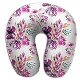 U Shaped Travel Pillow Antique Bouquet Memory Foam Soft Neck Portable Pillow For Flight Train Car And Office Naps Bed Pillows