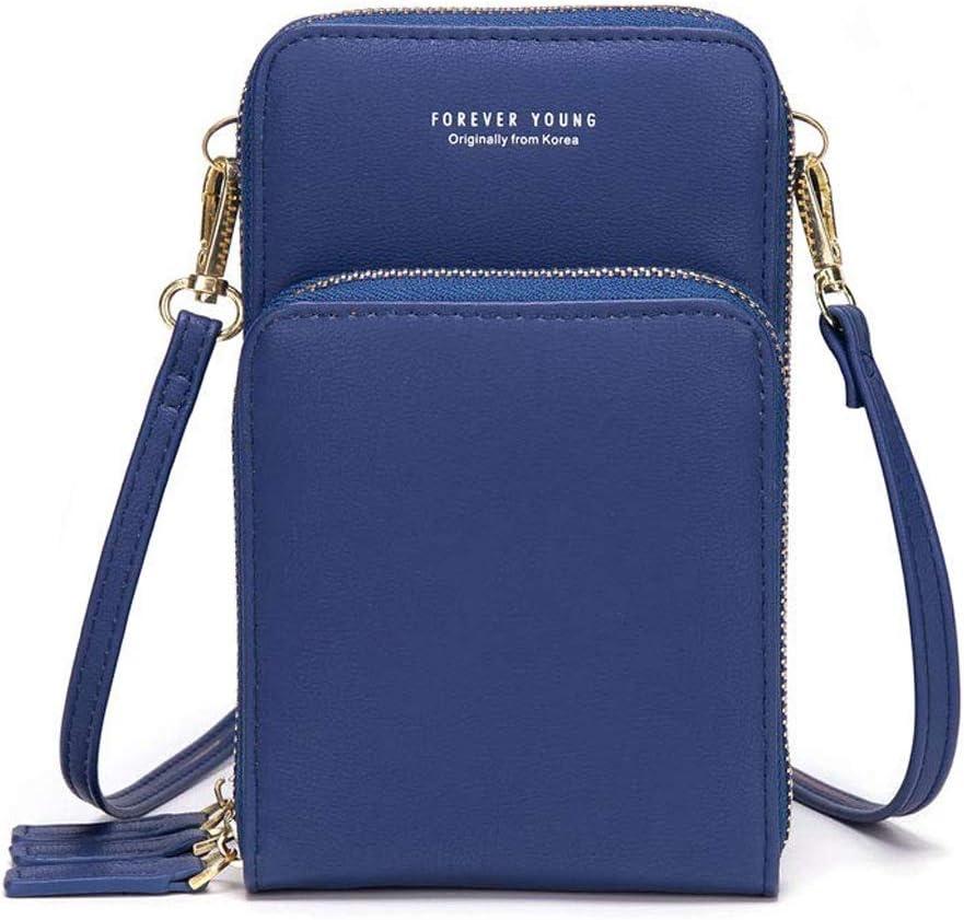 Bolso de teléfono móvil para mujer Monedero de cartera cruzada Mini bolso de teléfono celular cruzado de cuero ligero con ranuras para tarjeta de correa(Azul)