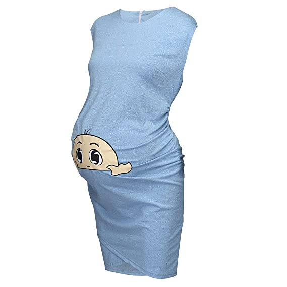 Oyedens Stillkleid Schwangere Frauen Mutter Tupfenkleid Stillen Kleid Witzige Lustige Schwangerschaftsmode Kleid V-Ausschnitt Mama Damen Umstandskleid