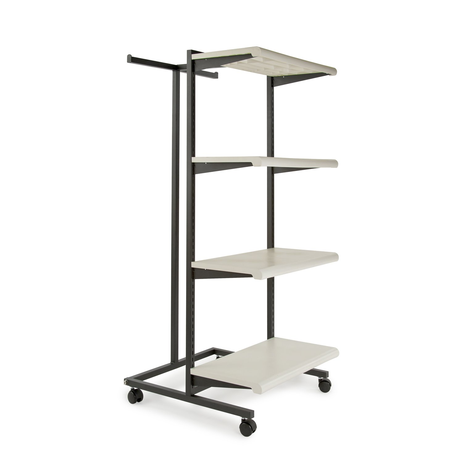 Econoco K410/W Frame with 4''-24'' Shelves and 1 T-Stand, 1'' Square Tubing, Matte, Black Frame with White Shelves