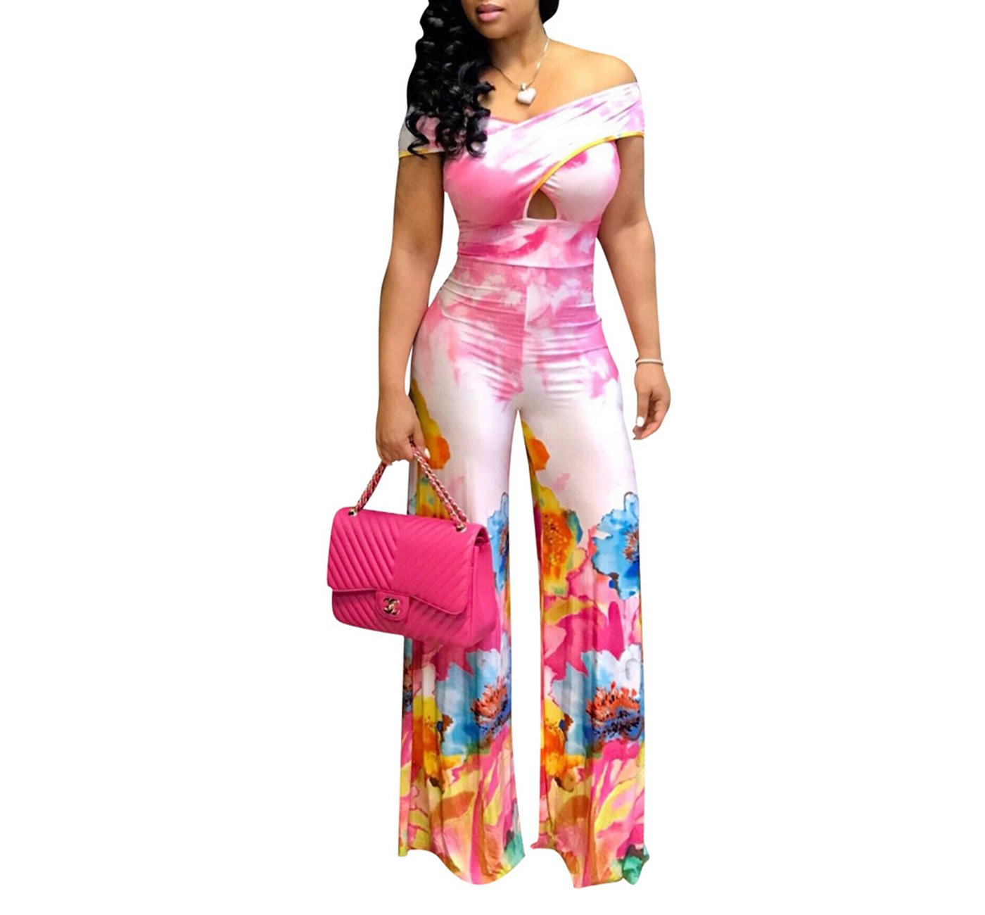 Tiaoqi Sexy Jumpsuits Women,Casual Sleeveless Floral V Neck Wide Leg Long Pants Rompers (Pink, L)