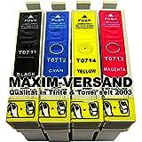 4 x Cartouches de nettoyage (pas d'origine) pour toutes les imprimantes, les cartouches de type epson t0711, t0712, t0713, t0714 nécessaire-compatible epson stylus d78 d92 d120 dX4000 dX4050 dX4400 dX4450 dX5000 dX5050 dX6000 dX6050 dX5500 dX5550 dX7400 dX7450 dX8400 dX8450 dX7000F dX9200 dX9400F sX210 sX105 sX110 sX100 sX115 sX200 sX205 sX215 sX218 sX400 sX405 sX410 sX415 sX417 sX510W sX515W sX600FW sX610FW s20 s21 bX510W b40W office bX300F bX310FN bX600FW bX610FW