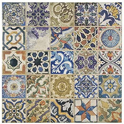 "SomerTile FPM12ARD Leon Ceramic Floor and Wall Tile, 12.5"" x 12.5"", Cream/Blue/Purple/Green/Red/White/Beige/Brown/Black/Yellow"