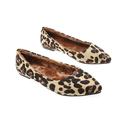 8980c2855cd1 Amazon.com | JOYBI Women Fashion Pointed Toe Ballet Shoes Leopard Print  Comfort Flock Slip-On Winter Casual Flat Loafers | Shoes