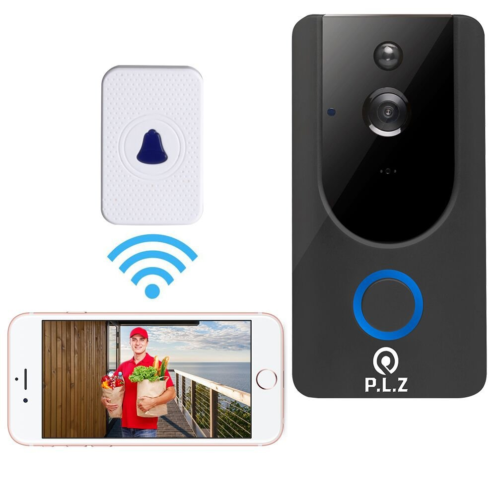 WiFi Wireless Video Doorbell Smart Door Bell 720P HD WiFi Security Camera with 8G Memory Storage and Chime, Two-Way Talk and Real-Time Video, Voice Wave Connection, Wide Dynamic Range (6)