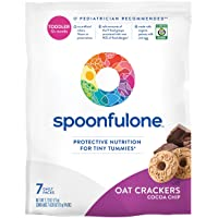 SpoonfulOne Allergen Introduction Oat Crackers | Protection For Kids From Developing a Food Allergy | Snack for a Toddler or Baby 12+ Months | Certified Organic (Cocoa Chip - 7 Pack)