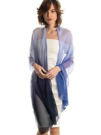 08423e223c2 Elizabetta Womens Silk Chiffon Ombre Shawl Wrap Scarf, Made in Italy ...