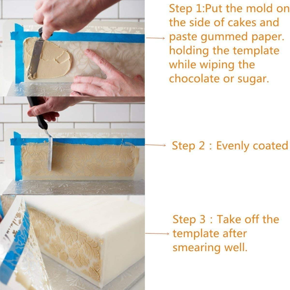 HULISEN 7Pcs Cake Decorating Stencil Mold Wedding Cake Stencil, Cake Mould by HULISEN (Image #3)