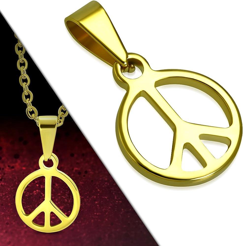 Acciaio inossidabile Tata Gis/èle Ciondolo Peace /& Love Dorato