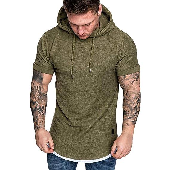 Youthny Herren Dick Kapuzenpullover Hoodie Basic Pullover LangarmKurzarm Pulli Oberteile Winterjacke Sweatshirt Muskel mit Kapuze