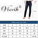 VICVIK High Waist Women Knee Skinny Denim