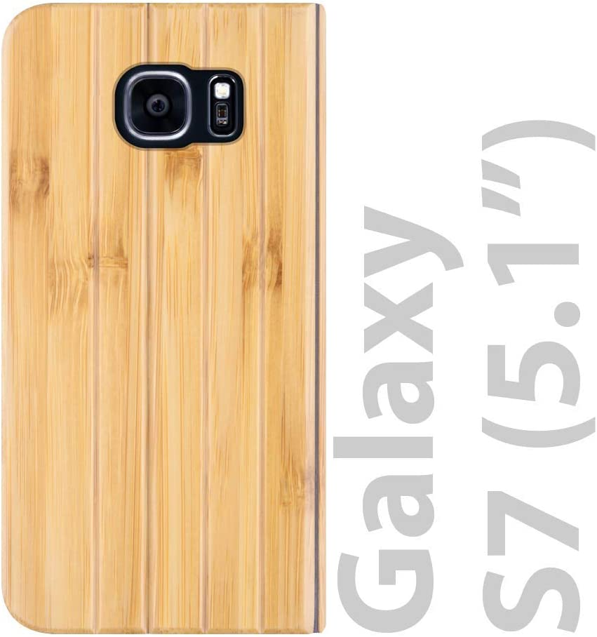 iATO Samsung Galaxy S7 Book Type Case - Real Bamboo Wood Grain Premium Protective Shockproof Folio Flip Cover - Unique, Stylish & Classy Front & Back Bumper Accessory Designed for Samsung Galaxy S7