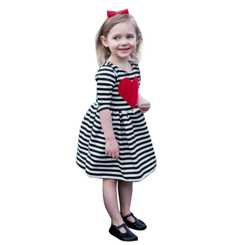 ASTV Girls Heart Striped Princess Dress Party Dress Ball Gown