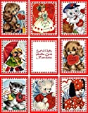 Vintage retro Valentine 8 cards tags with envelopes