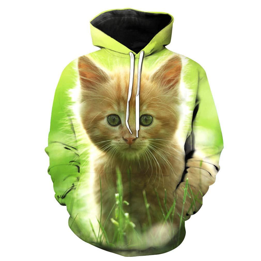 Usopu Mens//Womens 3D Cat Print Hoodie