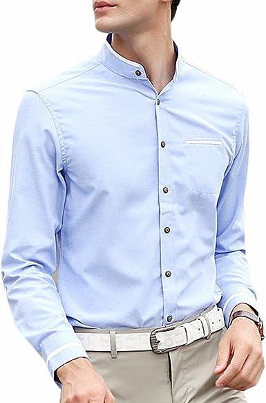 QIYUN.Z Los Hombres De Color Sólido De Manga Larga De Pie De Cuello con Botones Camisa De Vestir: Amazon.es: Ropa y accesorios