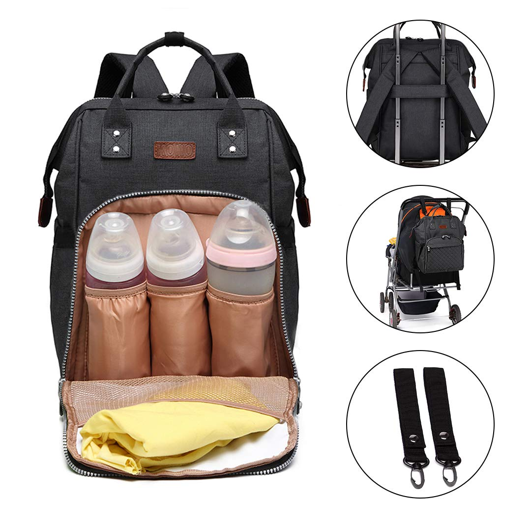 Kono Windelwechseln Rucksack Handtasche für Babypflege hands-free-Rucksack-Organizer mit Kapazität, wasserdicht, Tasche 6705 Black