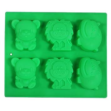 Juvale Candy molde - para repostería molde - moldes de silicona (leones, hipopótamos y monos - verde: Amazon.es: Hogar