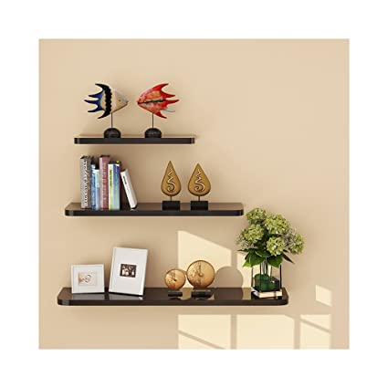 amazon com wudenhom wood floating shelves black gift 3 pieces wall rh amazon com long black wall shelves long black floating shelves