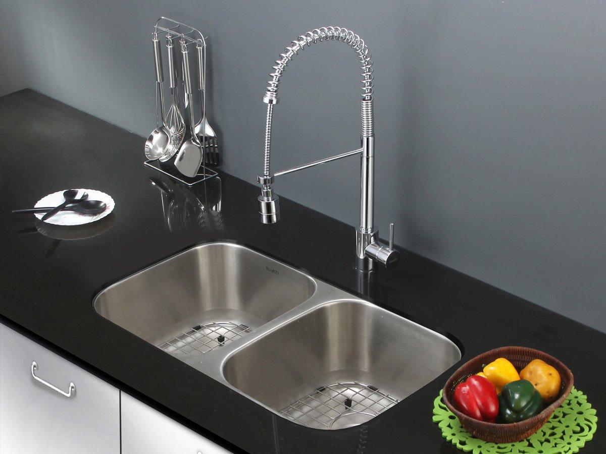 Undermount Kitchen Sink With Drainer Ruvati rvm4300 undermount 16 gauge 32 kitchen sink double bowl ruvati rvm4300 undermount 16 gauge 32 kitchen sink double bowl stainless steel amazon workwithnaturefo