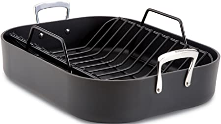 All-Clad E87599 Hard Anodized Aluminum Scratch Resistant Nonstick Anti-Warp Base 16-Inch by 13-Inch Large Roaster Roasting Pan with Nonstick Rack Cookware, Black
