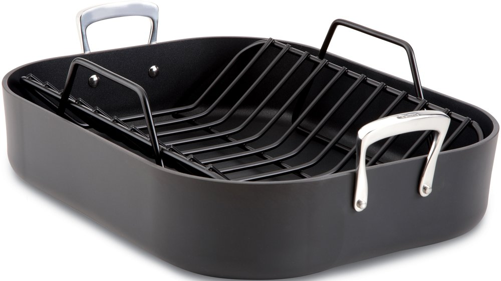 All-Clad E87599 Hard Anodized Aluminum Scratch Resistant Nonstick Anti-Warp Base 16-Inch by 13-Inch Large Roaster Roasting Pan with Nonstick Rack/Cookware, Black