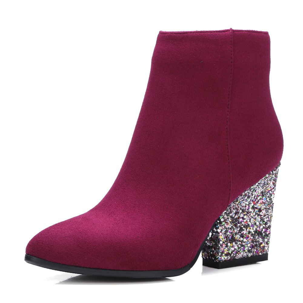 Meotina Brand Designer High Heels Women Ankle Boots Zip Glitter Thick Heel Ladies Boots Winter B077QP3S17 9 B(M) US|Red