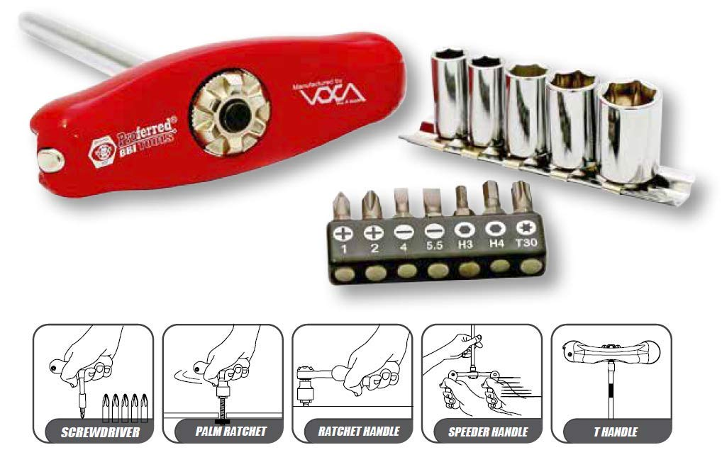 1//4 Drive Proferred S39001 Tiny Bone 5 in 1 Ratchet Handle 72 Teeth