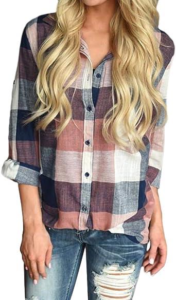 Minetom Mujer Camisa Blusa A Cuadros Mangas Largas Botones Camisas De Mujer Blusa Camisa A Cuadros Roll Up Manga Larga Blusas: Amazon.es: Ropa y accesorios