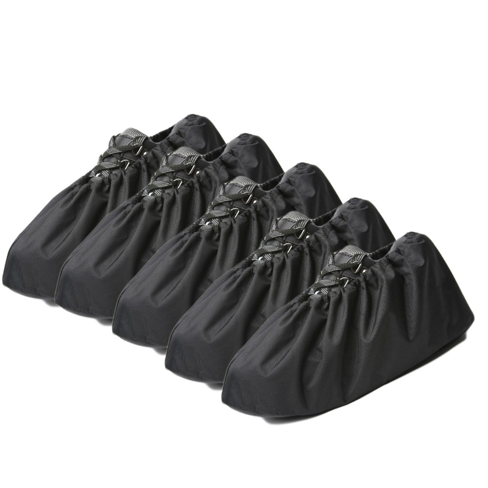 Jron 5 Pairs Premium Reusable Washable Shoe Cover Boot Covers for Contractors (5 Pairs | US 12-14 For Shoes/US 11-13 For Boots, Black) by Jron