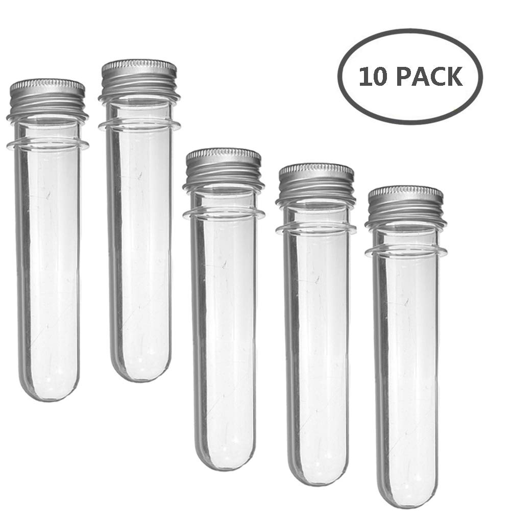 100ml Clear Plastic Test Tubes with Screw Caps Tube, Bath Salt Containers, Candy Storage,10 Pcs