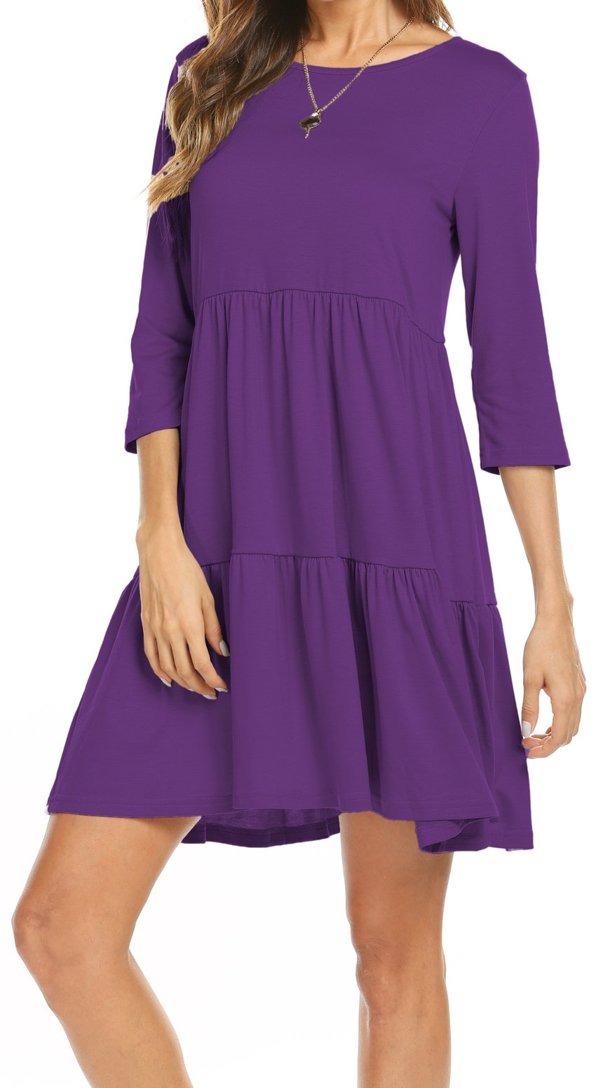 Round Neck Dress with Sleeves Light Purple, Multicolor Formal Dress for Ladies Party (S, Purple)