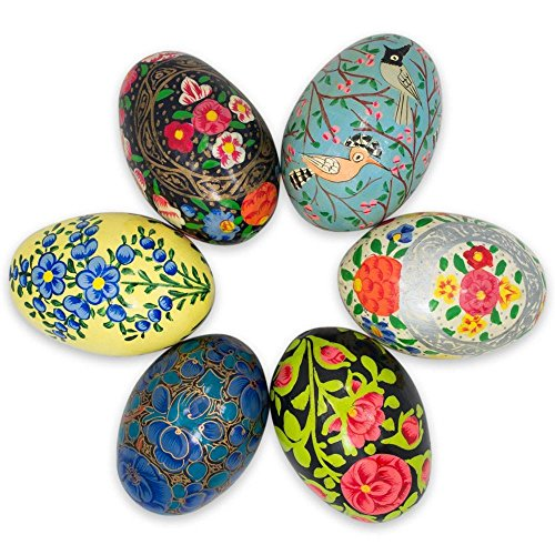 BestPysanky Set of 6 Flowers and Birds Ukrainian Wooden Easter Eggs ()
